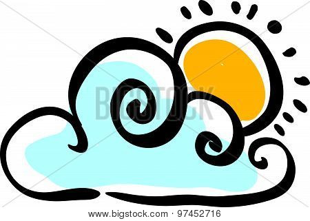 Cloudy weather icon on white background, vector illustration.