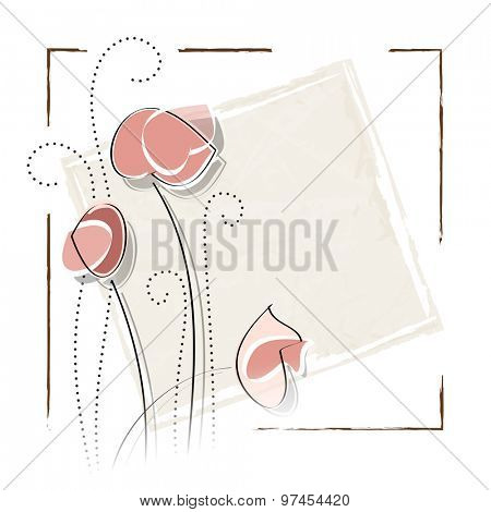 Vintage flower card design with frame against white background