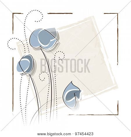 Vintage flower background with frame in soft watercolors