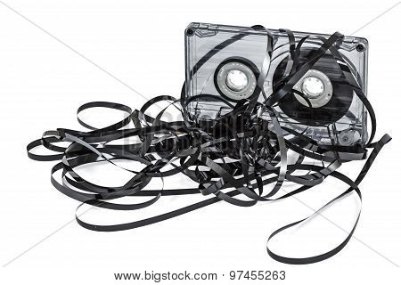 Close Up Of Vintage Audio Tape Cassette, Isolated On White, With Clipping Path