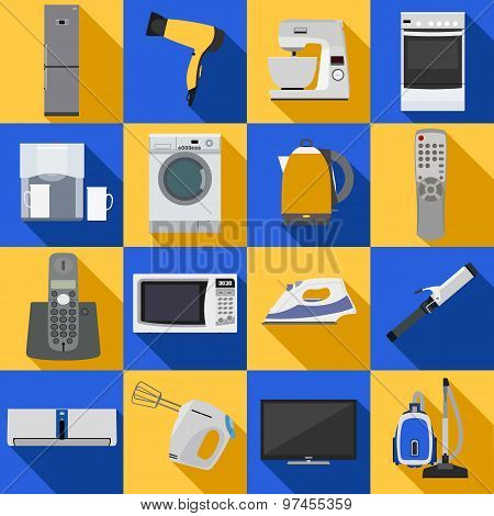 Set of household appliances and electronic devices icons.