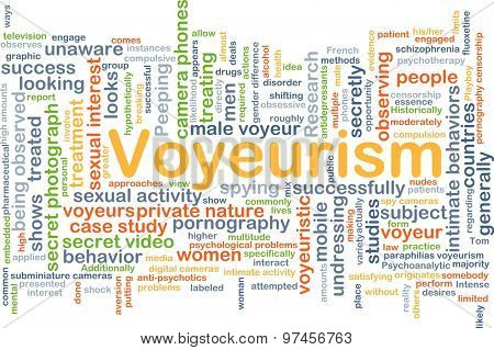 Background concept wordcloud illustration of voyeurism