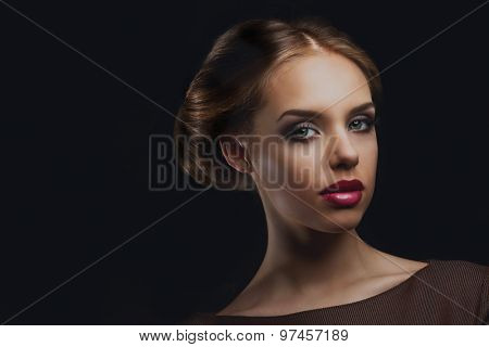 beautiful model with retro makeup and hair style