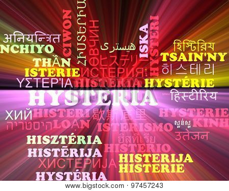 Background concept wordcloud multilanguage international many language illustration of hysteria glowing light