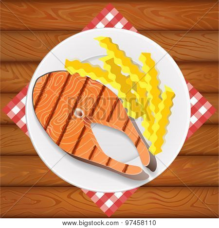 Salmon Grilled And French Fry