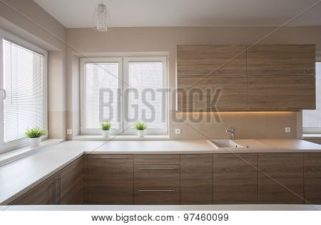 Simple Kitchen With Wooden Furniture
