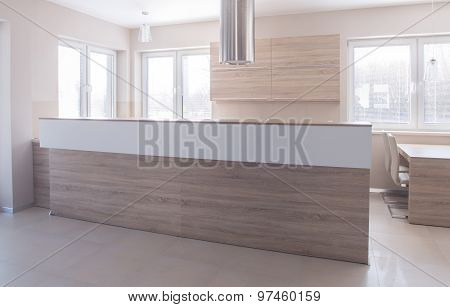 Open-concept Kitchen With High Worktop