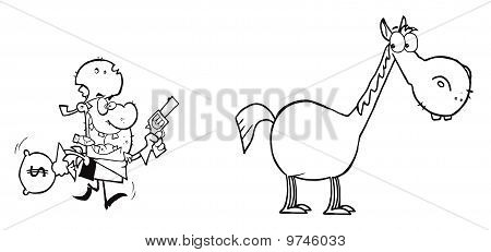 ?utlined Bandit Running Towards His Horse