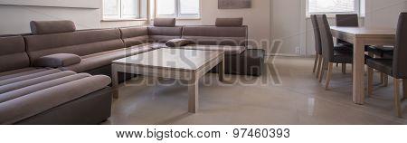 Huge Suede Sofa In Sitting-room
