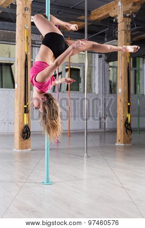 Pole Dancer During Training