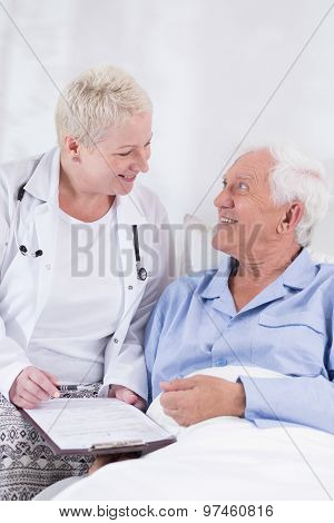 Old Man During Hospital Treatment