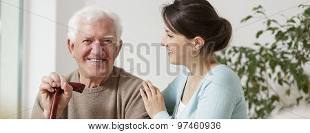 Grandfather And Granddaughter Spending Time