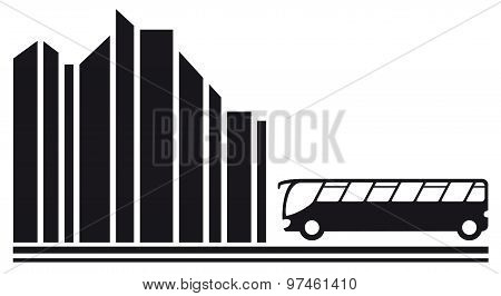 bus in city black silhouette