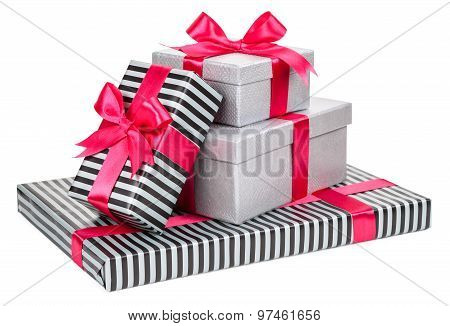 Grey And Striped Boxes With Bows Isolated On White Background