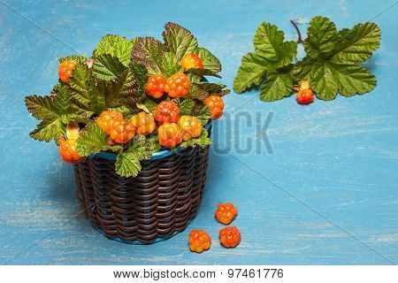 Fresh Cloudberries With Leaves In A Basket