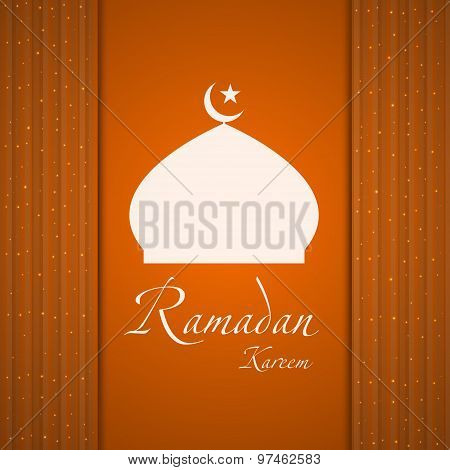 Silhouette Of A Muslim Mosque On The Abstract Background.  Vector Illustration.