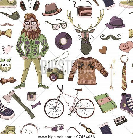 Colored hand-drawn Hipster style pattern