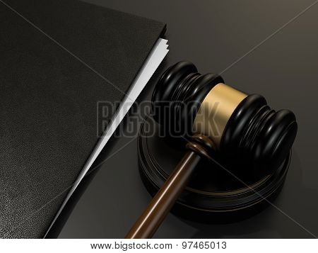 Wooden Judges Gavel And And Leather Folder On Black Table