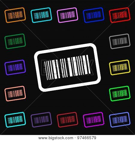 Barcode Icon Sign. Lots Of Colorful Symbols For Your Design. Vector