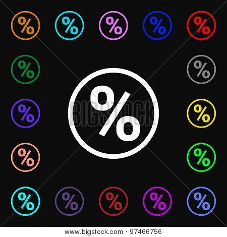Percentage Discount Icon Sign. Lots Of Colorful Symbols For Your Design. Vector