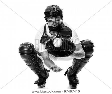 Young adult baseball player. Studio shot over white. Black and white.