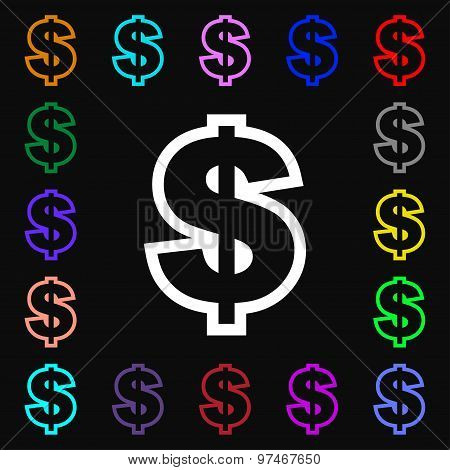 Dollar Icon Sign. Lots Of Colorful Symbols For Your Design. Vector