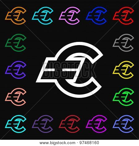 Euro Eur Icon Sign. Lots Of Colorful Symbols For Your Design. Vector