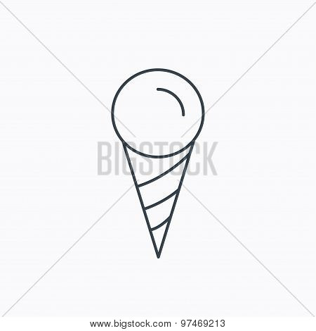 Ice cream icon. Sweet dessert in waffle cone.