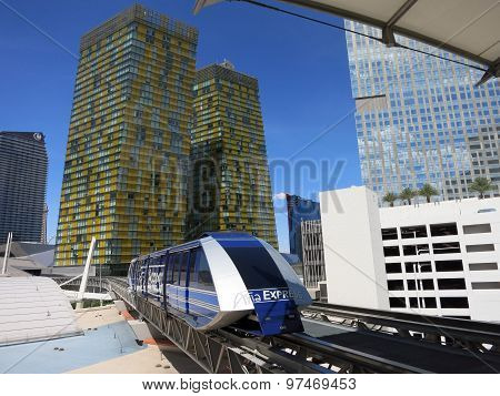 Modern Tram Pulls Into Station At Citycenter Connects The Belaggio, Aria And Monte Carlo Hotels And