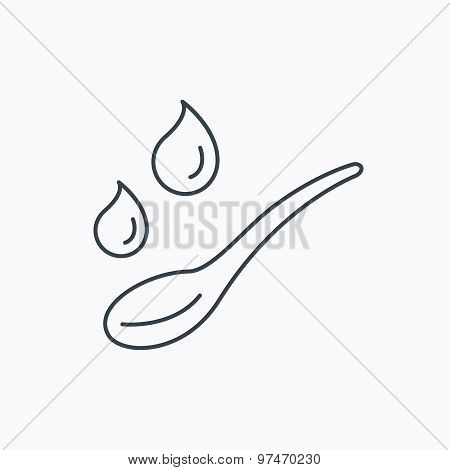 Spoon with water drops icon. Baby medicine dose.