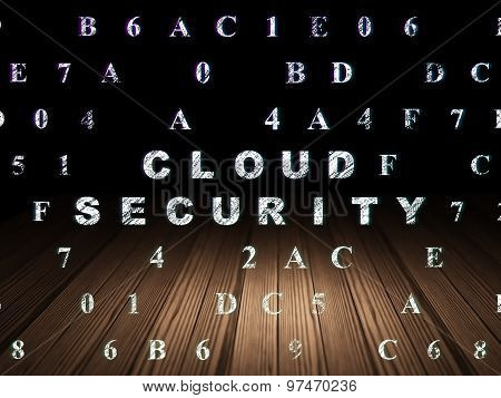 Cloud networking concept: Cloud Security in grunge dark room