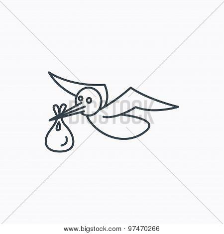Stork with sack icon. Newborn baby symbol.