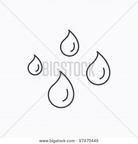 Water drops icon. Rain or washing sign.