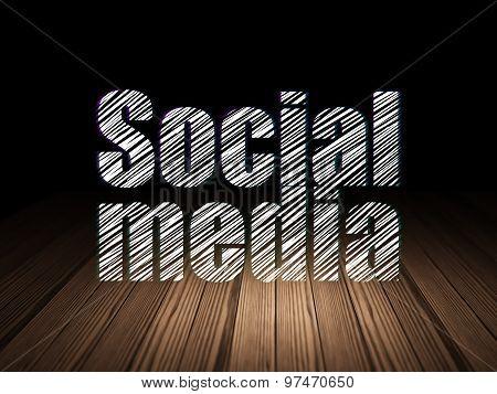 Social network concept: Social Media in grunge dark room