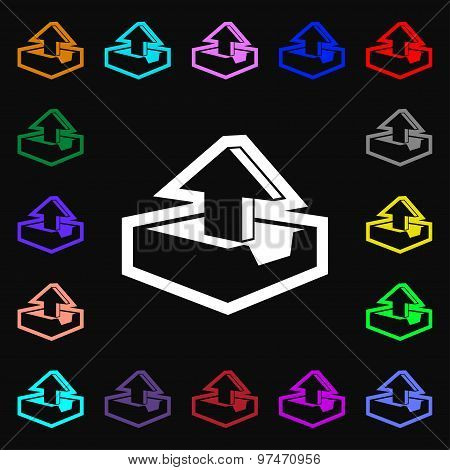 Upload Icon Sign. Lots Of Colorful Symbols For Your Design. Vector