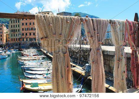 Fishing Nets, Beautiful Italian Landscape In Italy With Fishing Boats
