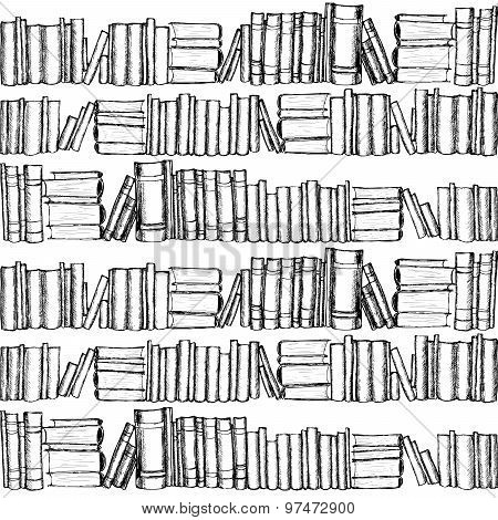 Seamless patterh with old books