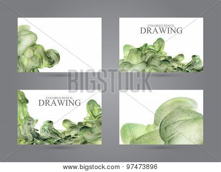 Business Cards With Abstract Cloud Of Ink Drawn By Hand With Colored Pencils