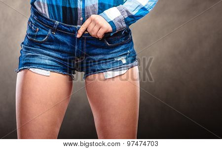 Closeup Of Sexy Woman Girl Hips Wearing Shorts.