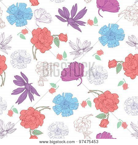 Vector Colorful Kimono Flowers on White Seamless Pattern