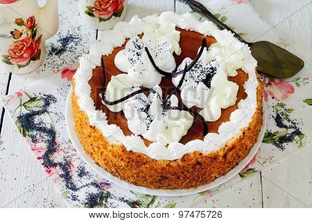 Honey Cake With Whipped Cream And Caramel.