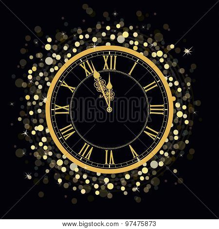 Golden New Year Clock