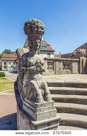 Art Nouveau Statue At Famous Sprudelhof In Bad Nauheim