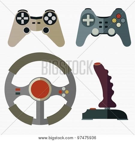 Joystick flat icons - vector