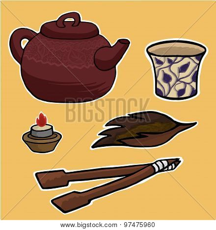 Chinese Tea Ceremony Vector Pattern Illustration