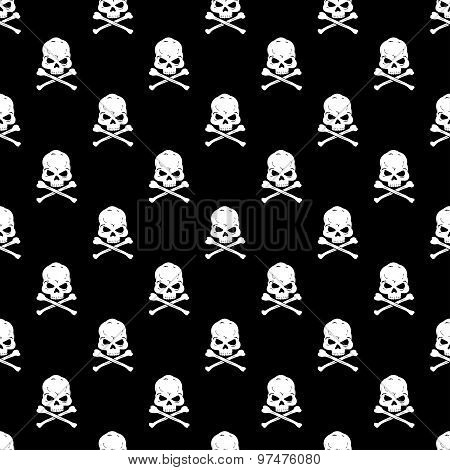 Skull and Bones seamless bacground - vector