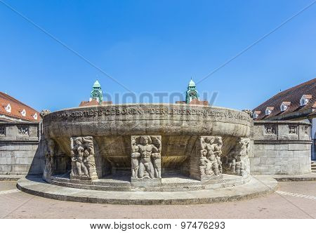 Famous Art Nouveau Fountain At Sprudelhof In Bad Nauheim