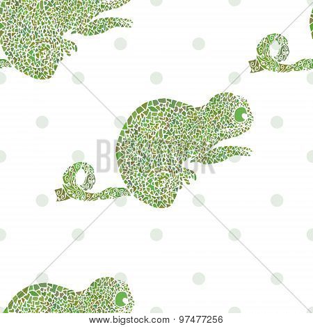 Chameleon Seamless Vector Illustration Cartoon Zoo Set