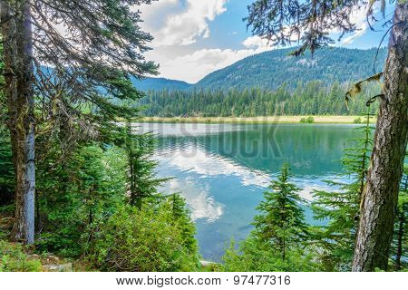 Majestic mountain lake in Canada. Lightning Lake in Manning Park in British Columbia.