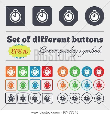 The Stopwatch Icon Sign. Big Set Of Colorful, Diverse, High-quality Buttons. Vector